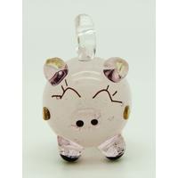 Mini Pendentif Cochon rose 23mm en verre lampwork