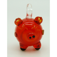 Mini Pendentif Cochon Rouge Noir 23mm en verre lampwork