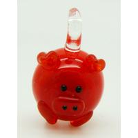 Mini Pendentif Cochon Rouge 23mm en verre lampwork
