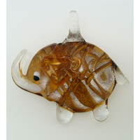Pendentif Elephant Argenté rayure marron 52mm en verre silver foil