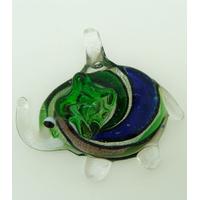 Pendentif Elephant Argenté spirale bleu vert 52mm en verre silver foil
