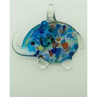 Pendentif Elephant Bleu Argenté touches multicolores 52mm en verre silver foil