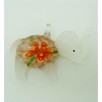 Pendentif Elephant Blanc Fleur Orange 55mm en verre