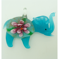 Pendentif Elephant Bleu Fleur Violet 55mm en verre