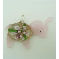 Pendentif Elephant Rose Fleur Violet clair 55mm en verre