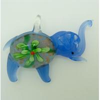 Pendentif Elephant bleu foncé Fleur verte 55mm en verre