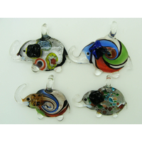 Lot 4 Pendentifs Elephant animal en verre silver foil