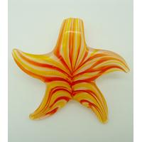 Pendentif ETOILE Fleur Jaune Orange 57mm en verre