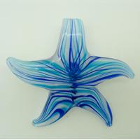 Pendentif ETOILE Fleur Bleu 57mm en verre