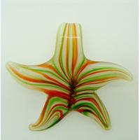 Pendentif ETOILE Fleur Vert Orange 57mm en verre