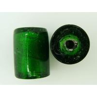 Perles Tubes 22mm vert émeraude feuille argentée par 2 pcs