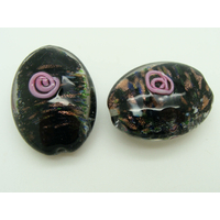 Perle verre Lampwork Galet ovale 28mm Noir par 1 pc