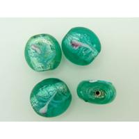 Perles verre Lampwork Rondelles Vert 15x8mm par 4 pcs