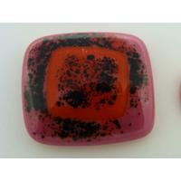 Cabochon verre fusing 30x26mm Violet noir et carré orange