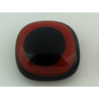 Cabochon verre fusing carré 15x15mm noir rouge