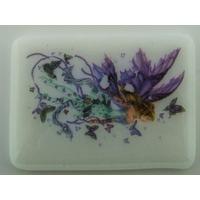 Cabochon verre fusing plaque 60x45mm blanc motif fée et papillons