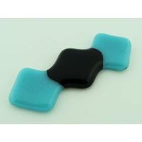 Cabochon verre 3 carrés fusing 58mm Bleu et Noir
