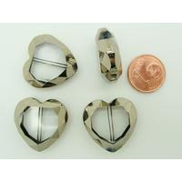 Perles Coeur verre transparent facettes métallisées argentées 22mm par 6 pcs