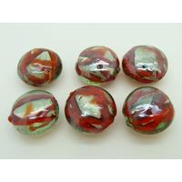 Perles galets 16mm vert rayures rouges verre façon Murano par 6 pcs