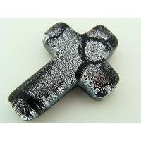 Cabochon VERRE Dichroïque Croix 26mm gris noir cab-137 par 1 pc