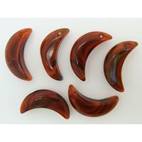 Breloques croissant de lune 22mm verre marron par 6 pcs