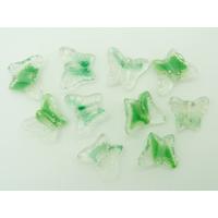 Perles Papillons 16mm verre Transparent et Vert par 10 pcs