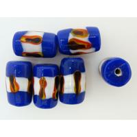 Perles verre Lampwork Tubes 17mm Bleu Foncé Blanc Marron par 6 pcs