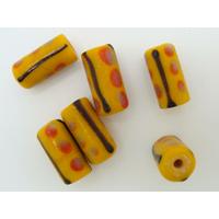 Perles verre Lampwork Tubes 16mm Marron Noir Rouge par 6 pcs