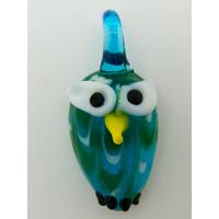 Mini pendentif Hibou Chouette bleu 25mm animal oiseau en verre lampwork