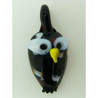 Mini pendentif Hibou Chouette noir 28mm animal oiseau en verre lampwork