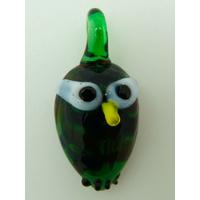 Mini pendentif Hibou Chouette vert foncé 28mm animal oiseau en verre lampwork