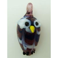 Mini pendentif Hibou Chouette violet 28mm animal oiseau en verre lampwork