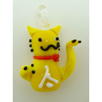 Mini pendentif Chat Lucky Cat Jaune 26mm animal en verre lampwork
