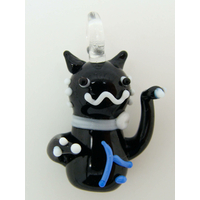 Mini pendentif Chat Lucky Cat Noir 26mm animal en verre lampwork