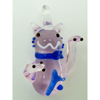 Mini pendentif Chat Lucky Cat Rose 26mm animal en verre lampwork