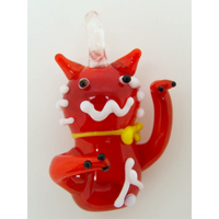 Mini pendentif Chat Lucky Cat Rouge 26mm animal en verre lampwork