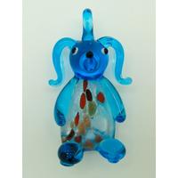 Pendentif Lapin Bleu et feuille argenté 50mm animal en verre lampwork