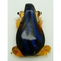 Pendentif Grenouille Marron Dos bandes bleues dichroique 50mm animal en verre lampwork