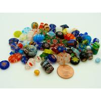 Lot 70 perles verre MILLEFIORI mix tailles formes et couleurs