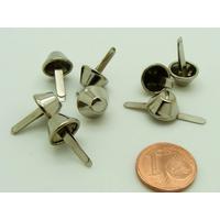 Pieds Cônes plats 10x18mm métal Argenté type attaches parisiennes par 12 pcs