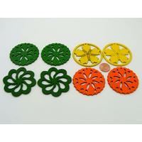 Lot 03 de 8 Pendentifs Fleurs bois peint mix couleurs (4 paires)