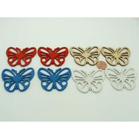 Lot 04 de 8 Pendentifs Papillons bois peint mix couleurs (4 paires)