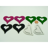 Lot 06 de 8 Pendentifs Coeur bois peint mix couleurs (4 paires)
