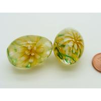Perle verre Lampwork Ovale 27mm 2 Fleurs Jaune par 1 pc