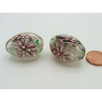 Perle verre Lampwork Ovale 27mm 2 Fleurs Violet par 1 pc
