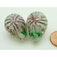 Perle verre Lampwork Goutte 23mm 2 Fleurs Violet par 1 pc