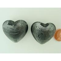 Perle Coeur 28mm Gris verre façon Murano par 1 pc