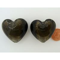 Perle Coeur 28mm Gris Noir verre façon Murano par 1 pc