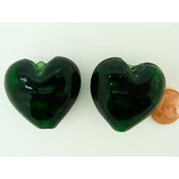 Perle Coeur 28mm Vert Foncé verre touches argentées par 1 pc