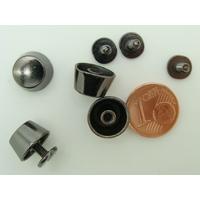 Pieds Cônes plats 12x7mm métal Noir Hématite à visser par 4 pcs